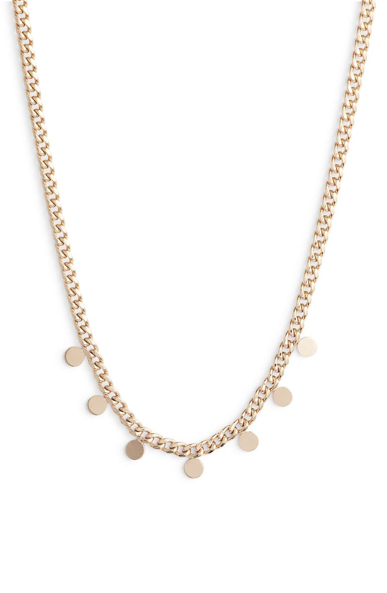 ZOË CHICCO Itty Bitty Disc Curb Chain Necklace, Main, color, 710