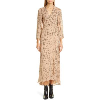Ganni Dot Georgette Wrap Maxi Dress, US / 4 - Beige