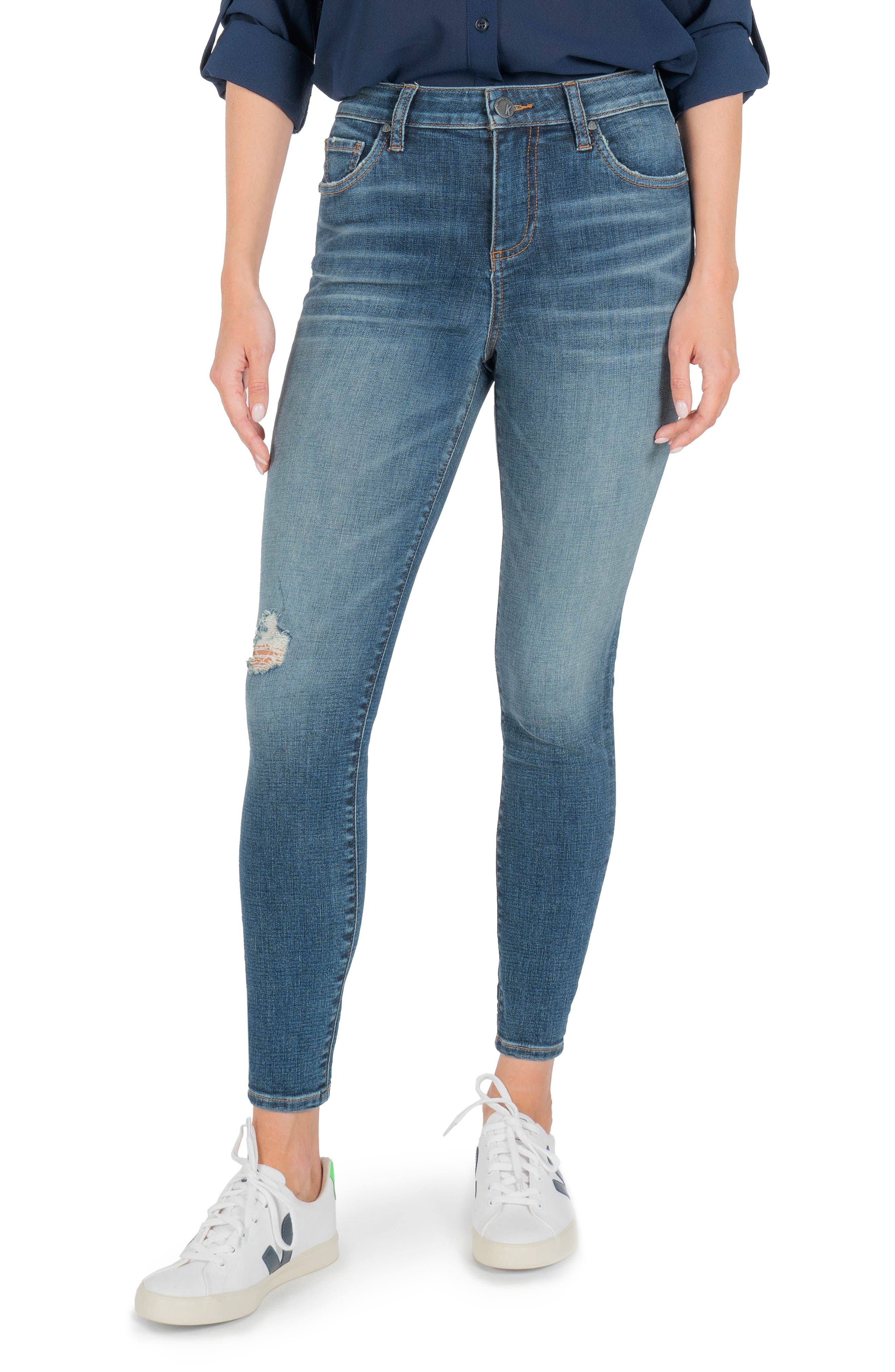 Donna Ripped High Waist Ankle Skinny Jeans