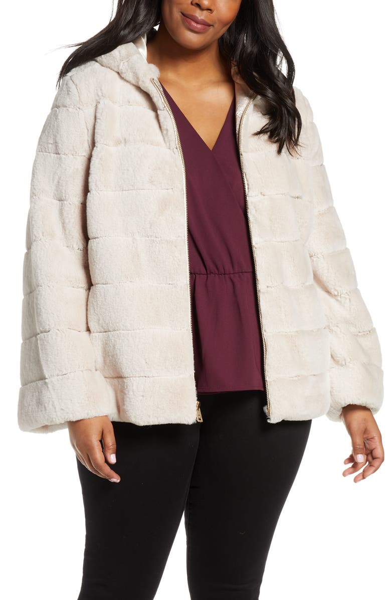 KENNETH COLE NEW YORK Hooded Faux Fur Jacket, Main, color, 900