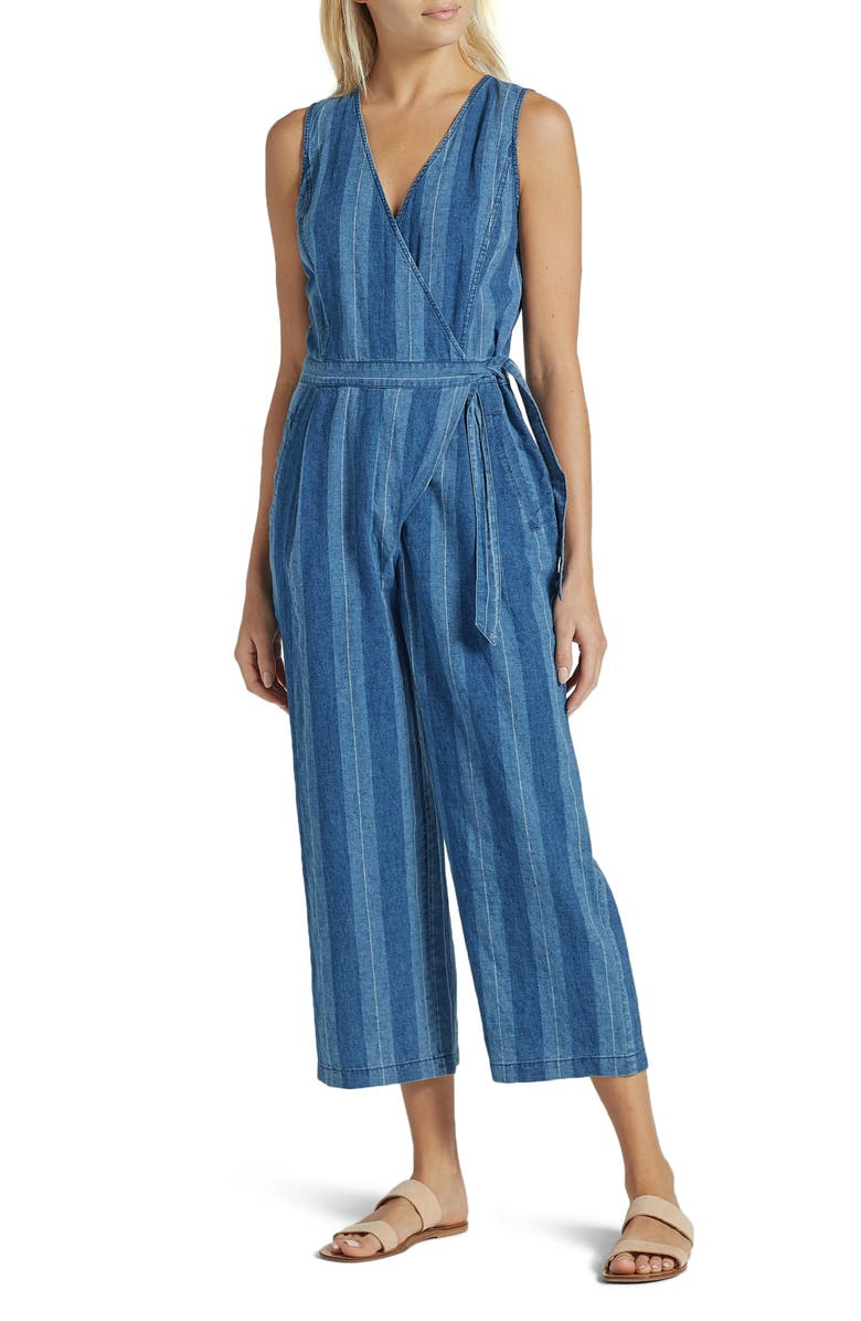 JOIE Xenia Stripe Linen & Cotton Wide Leg Crop Jumpsuit, Main, color, OCEAN