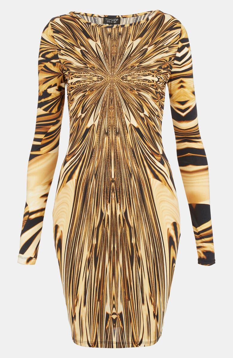 TOPSHOP Liquid Print Body-Con Dress, Main, color, 710