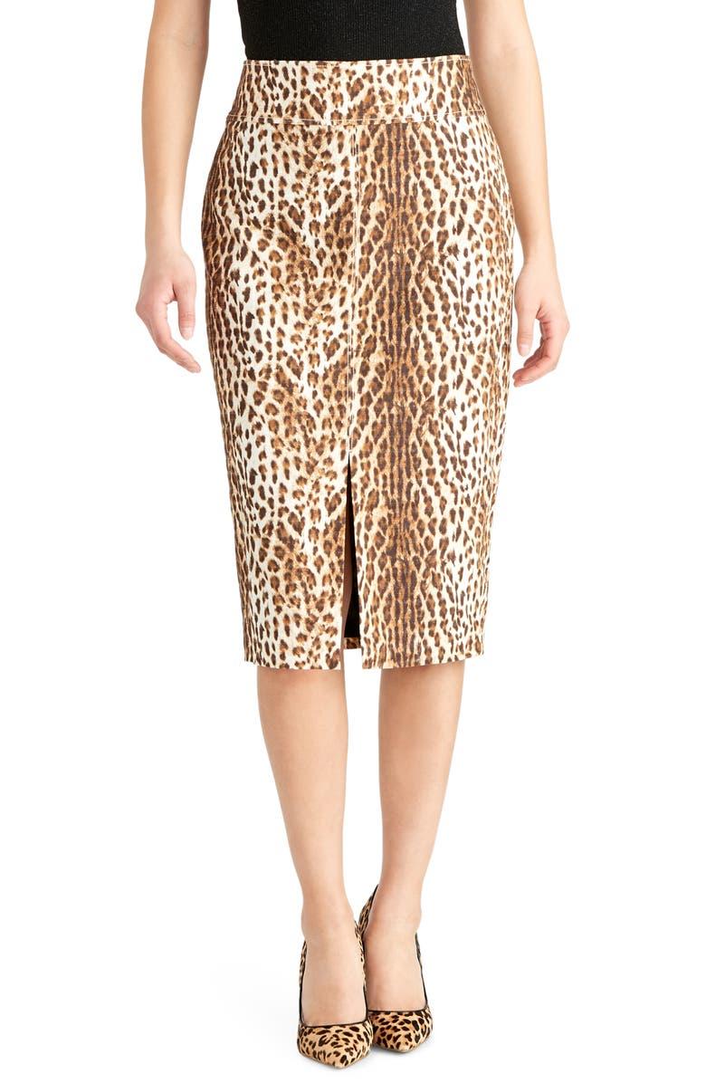 RACHEL ROY COLLECTION Slit Leopard Print Pencil Skirt, Main, color, 199