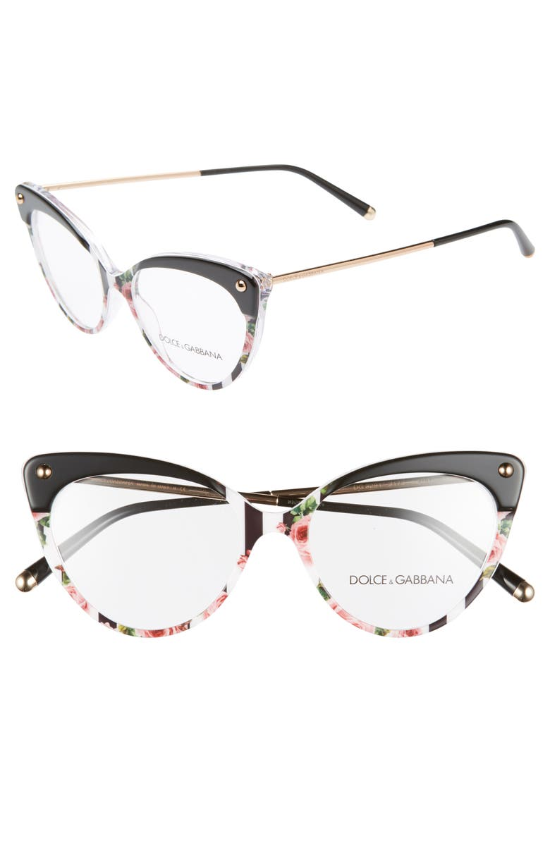 DOLCE&GABBANA 52mm Cat Eye Optical Glasses, Main, color, TOP BLACK/ SPOTTED/ GOLD