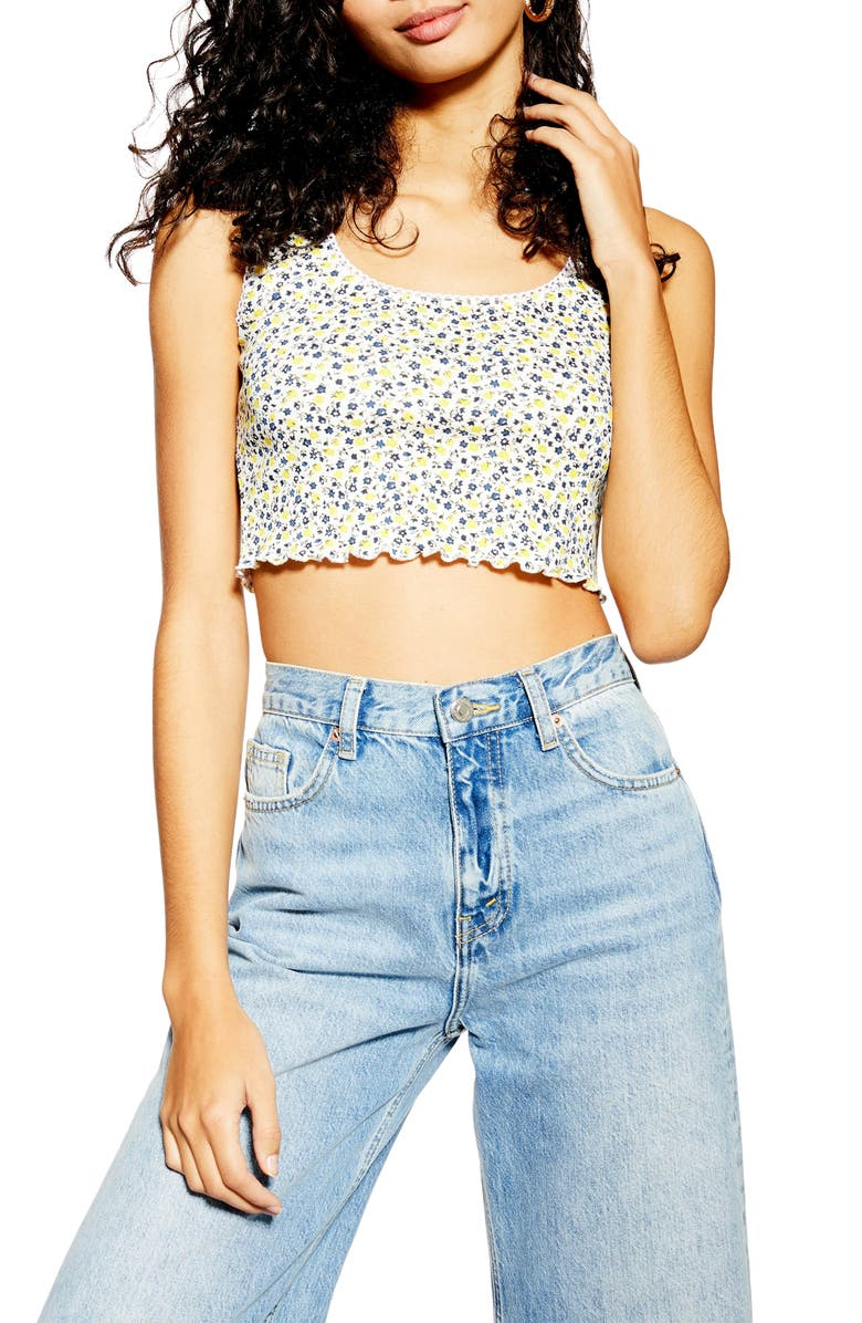 TOPSHOP Ditsy Picot Cropped Tank Top, Main, color, WHITE MULTI