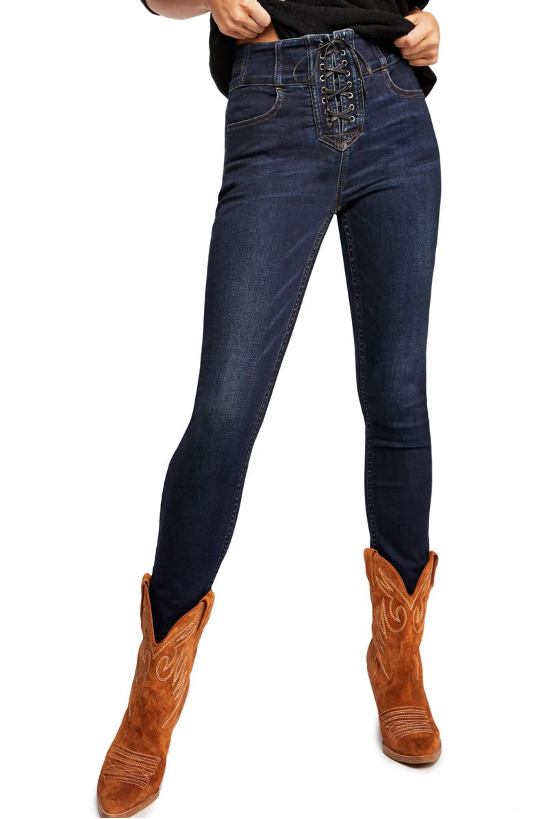 FREE PEOPLE CRVY by Free People Lovers Knot High Waist Skinny Jeans, Main, color, 400
