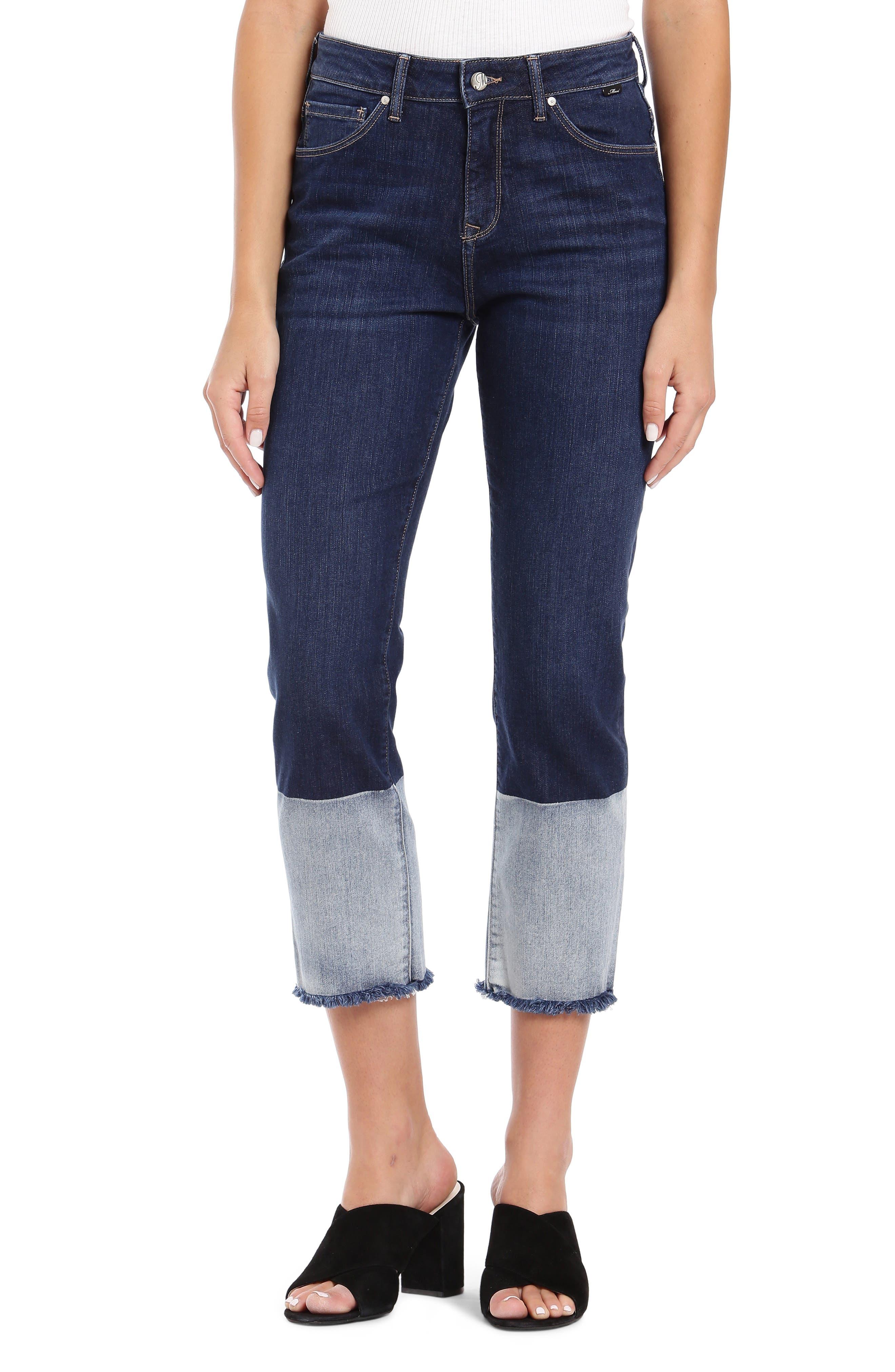 Niki Colorblock Fray Hem Crop Jeans