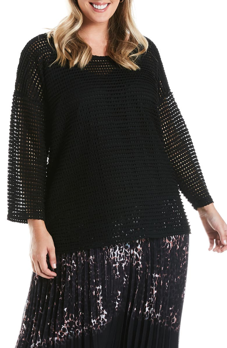 ESTELLE Cageless Open Weave Top, Main, color, BLACK