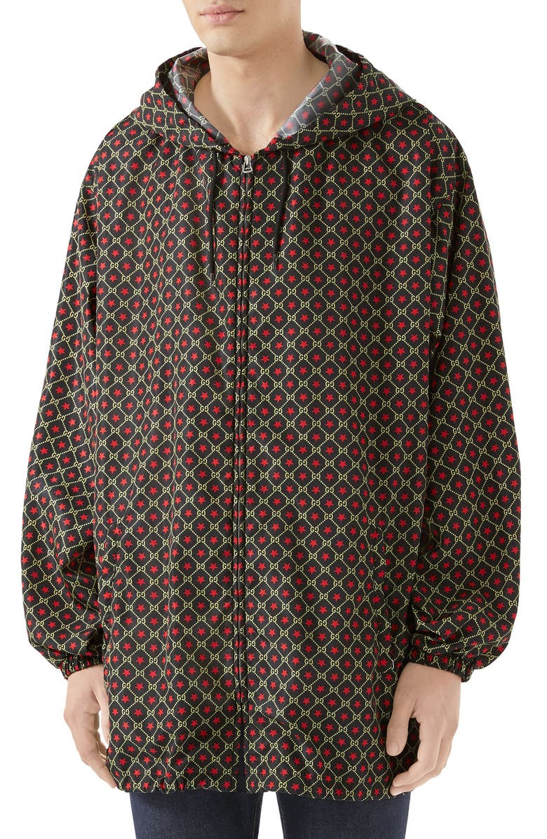 GUCCI GG Star Print Hooded Jacket, Main, color, BLACK/ LIVE RED PRINT