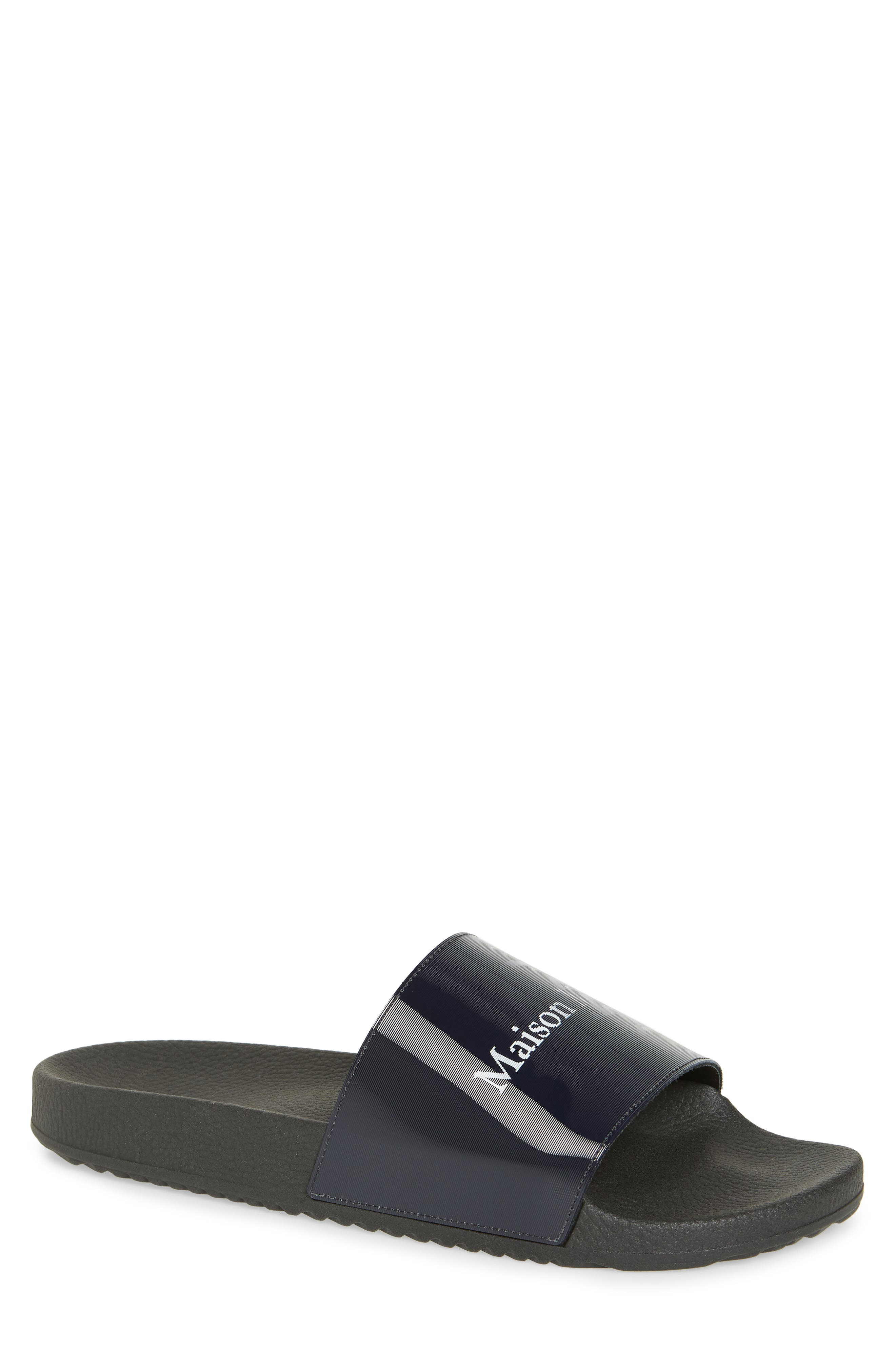 ,                             Pool Slide Sandal,                             Main thumbnail 1, color,                             BLACK/ OFF WHITE