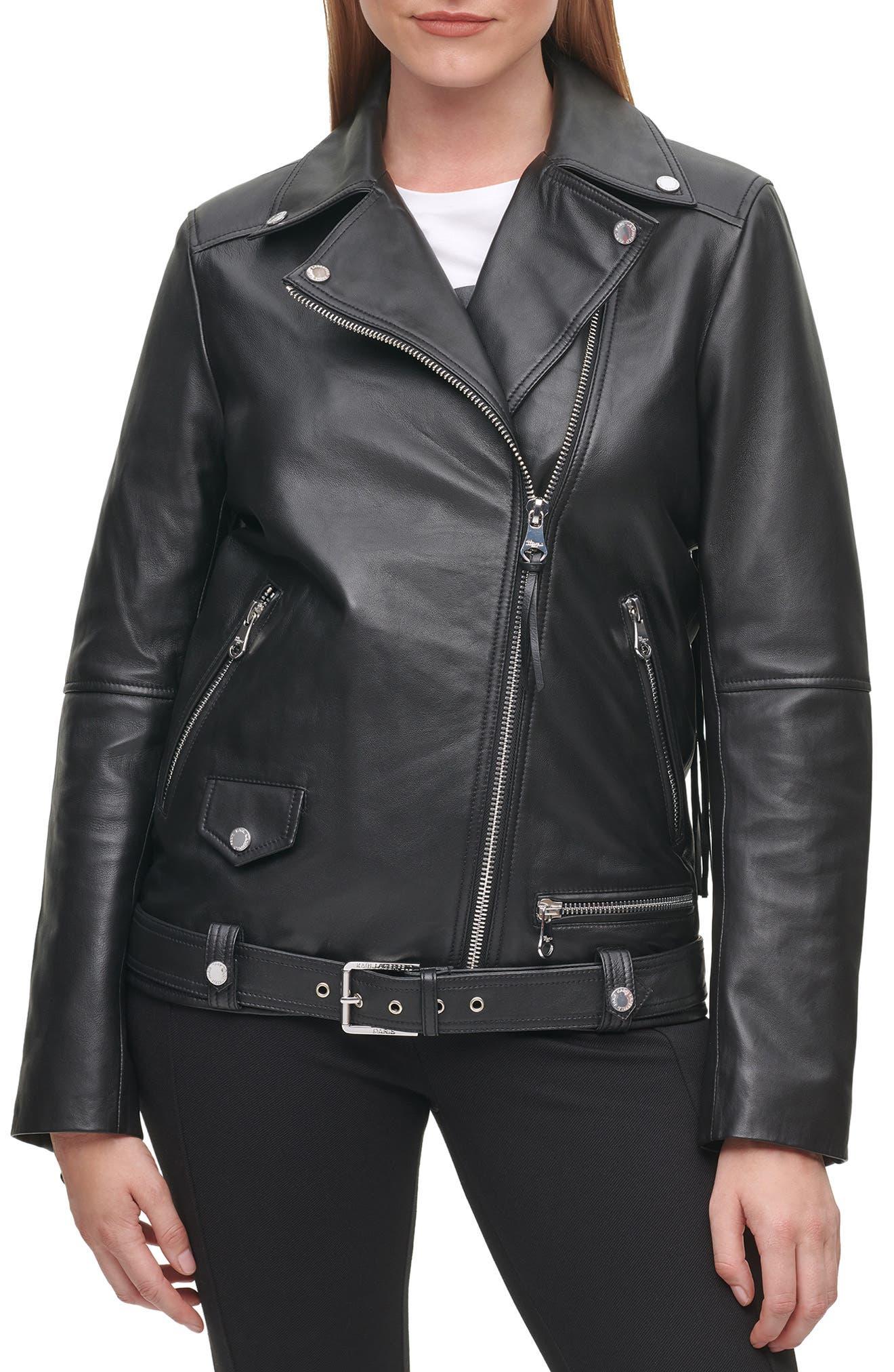 Logo Fringe Leather Moto Jacket