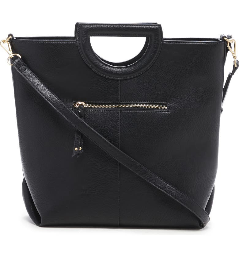 SOLE SOCIETY Duff Faux Leather Tote, Main, color, BLACK