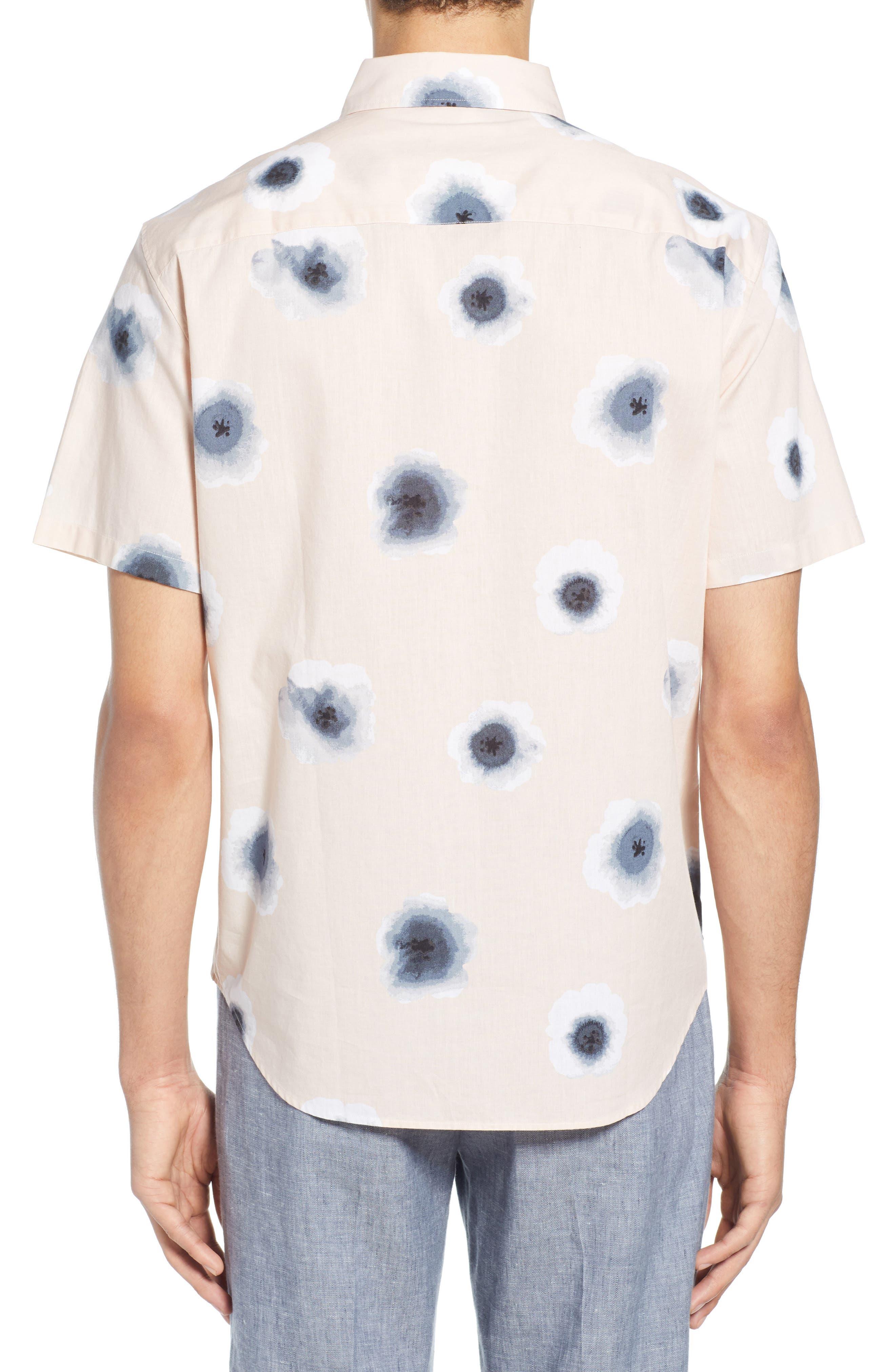 ,                             Morning Glory Slim Fit Sport Shirt,                             Alternate thumbnail 3, color,                             PINK MULTI