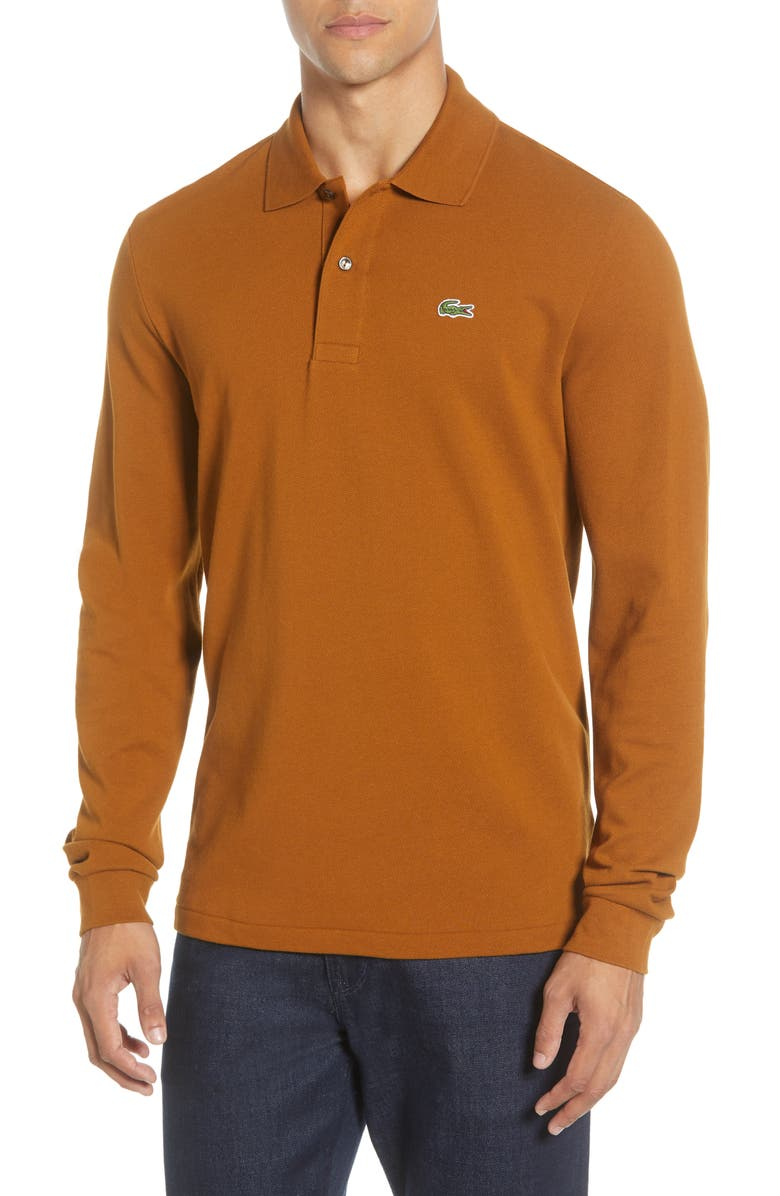 LACOSTE Classic Fit Long Sleeve Piqué Polo, Main, color, TOBACCO BROWN
