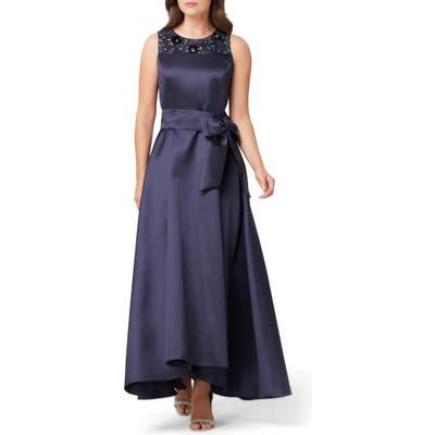 Tahari Embellished Mikado Gown, Blue