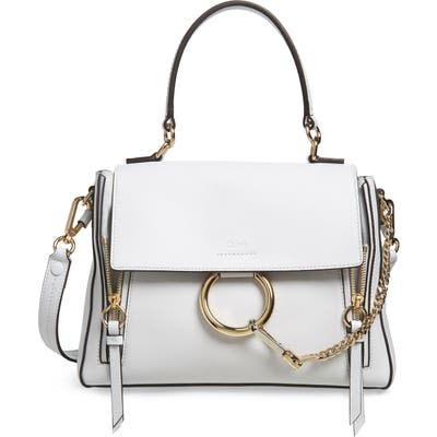 Chloe Small Faye Day Leather Shoulder Bag - White