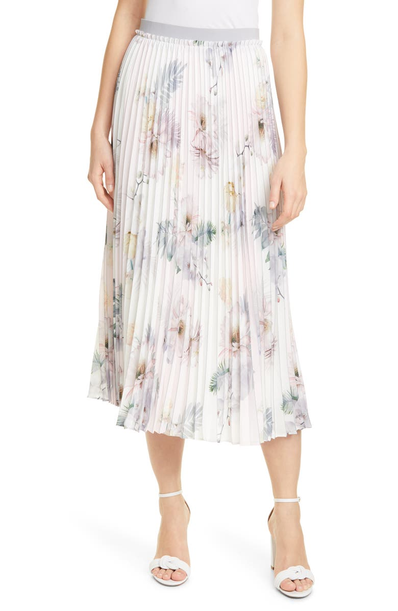 TED BAKER LONDON Maxiiy Woodland Floral Pleated Skirt, Main, color, 680