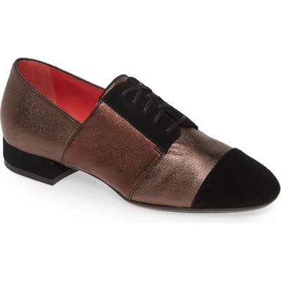 Pas De Rouge Daria Metallic Cap Toe Derby, Grey