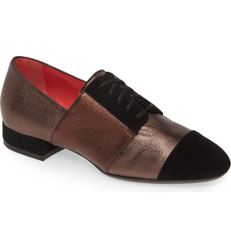 PAS DE ROUGE Daria Metallic Cap Toe Derby, Main, color, BLACK/ GREY MULTI