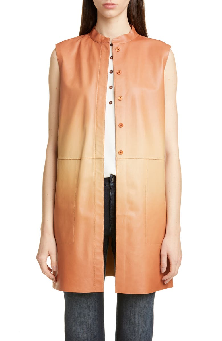 LAFAYETTE 148 NEW YORK Malva Ombré Leather Vest, Main, color, RUM MULTI