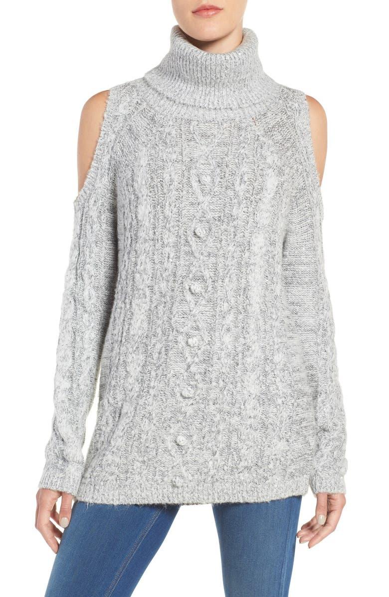 CHELSEA28 Sequin Cold Shoulder Sweater, Main, color, 020