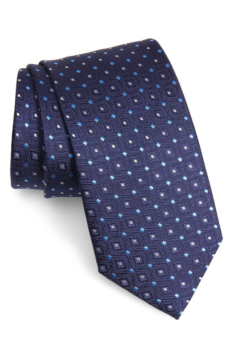 ETON Geometric Silk Tie, Main, color, NAVY