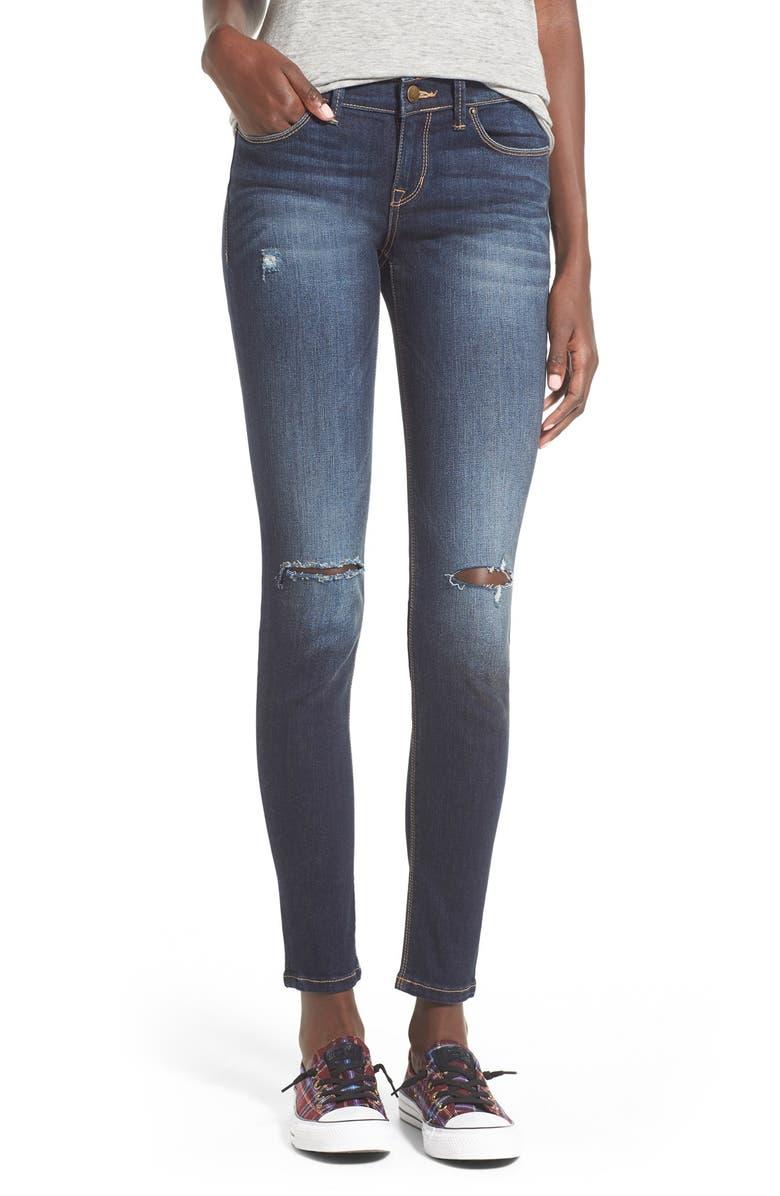 SP BLACK Slit Knee Skinny Jeans, Main, color, 401