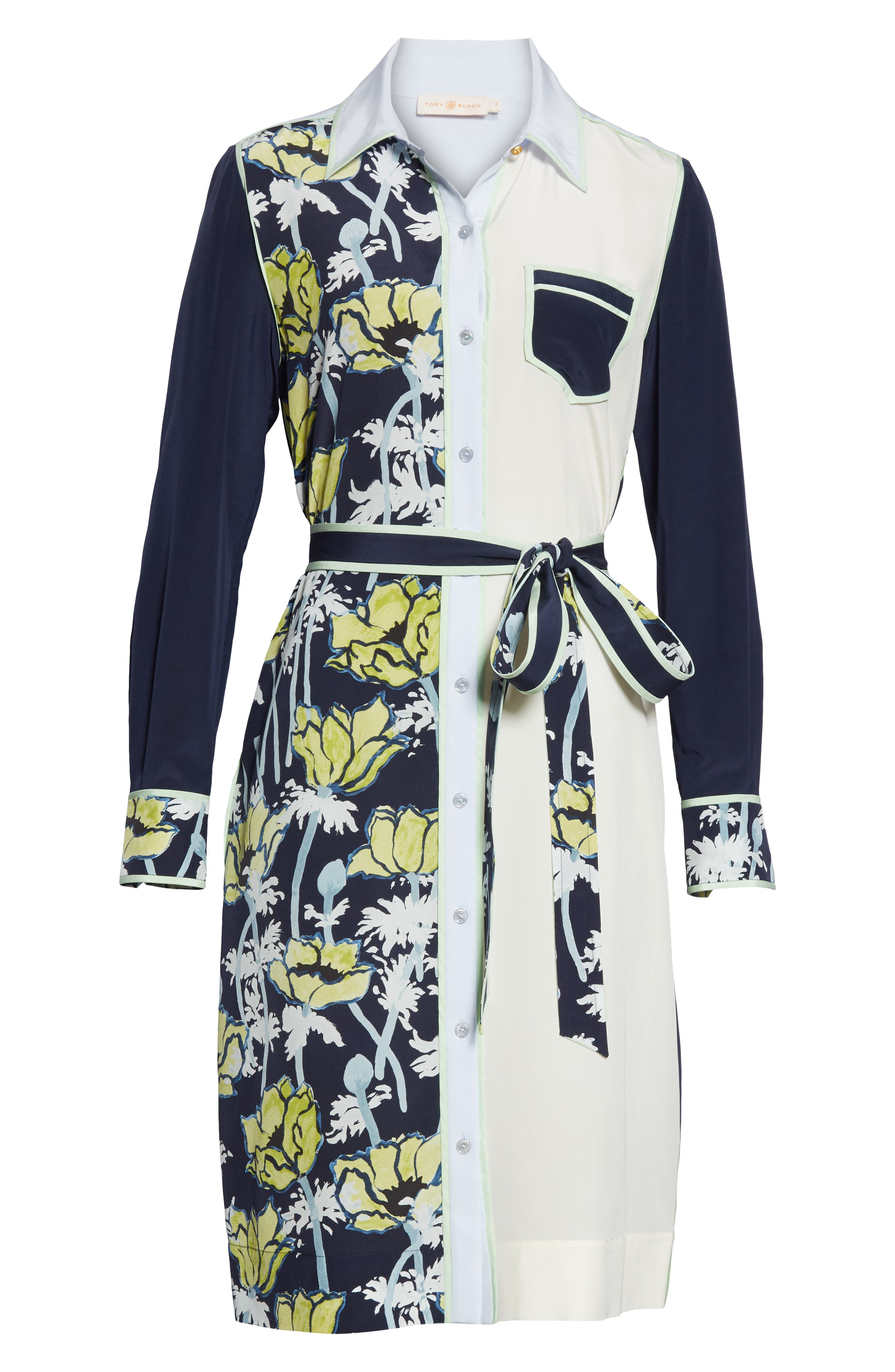 ,                             Silk Patchwork Long Sleeve Dress,                             Alternate thumbnail 6, color,                             NAVY POPPIES BLOOM