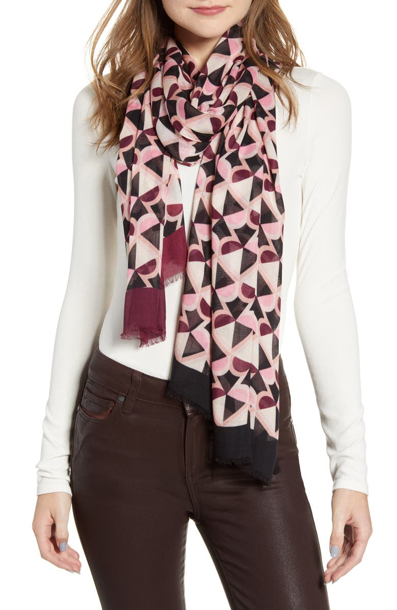 KATE SPADE NEW YORK honeycomb oblong scarf, Main, color, NEUTRAL