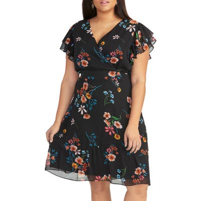 Plus Size Rachel Rachel Roy Easy Floral Faux Wrap Dress, White