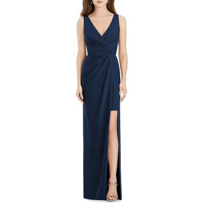 Jenny Packham Crepe Column Gown, Blue