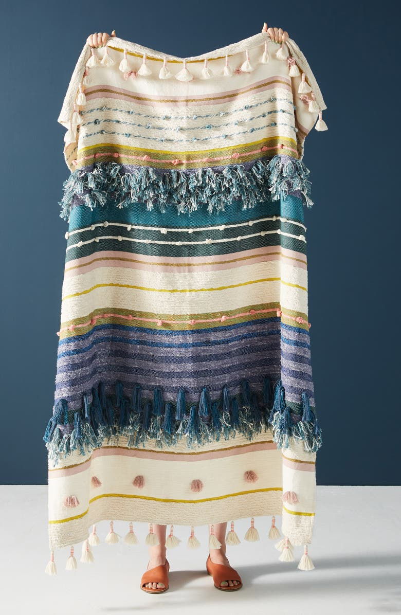 ANTHROPOLOGIE x All Roads Design Yucca Throw Blanket, Main, color, BLUE