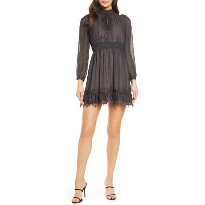 French Connection Dayo Lace Trim Long Sleeve Minidress, Black