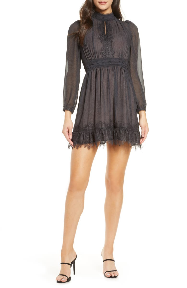 FRENCH CONNECTION Dayo Lace Trim Long Sleeve Minidress, Main, color, BLACK