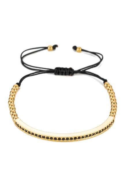 Image of Eye Candy Los Angeles James CZ Brass Bar Bracelet with Adjustable Titanium Beads