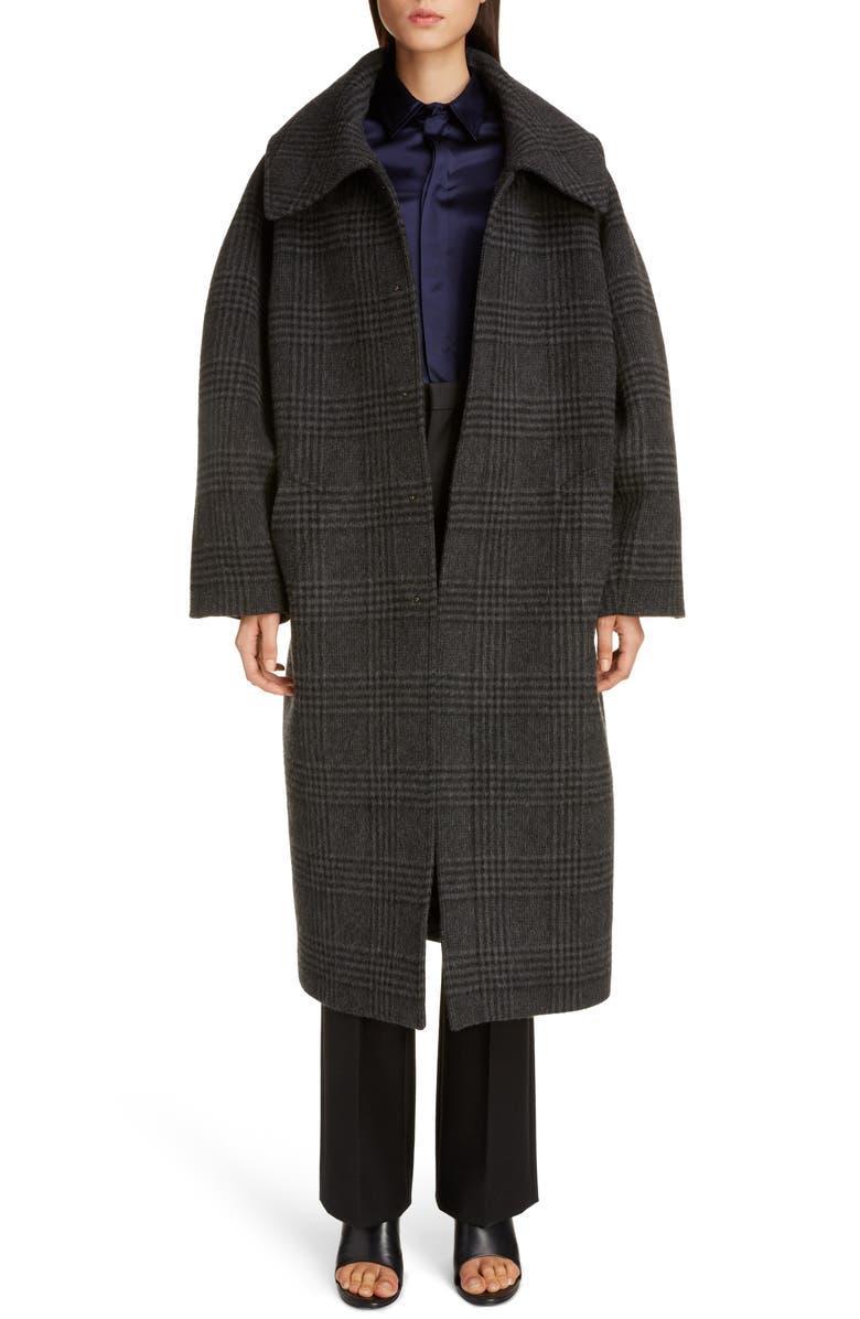 BALENCIAGA Incognito Glen Plaid Wool Blend Car Coat, Main, color, ANTHRACITE