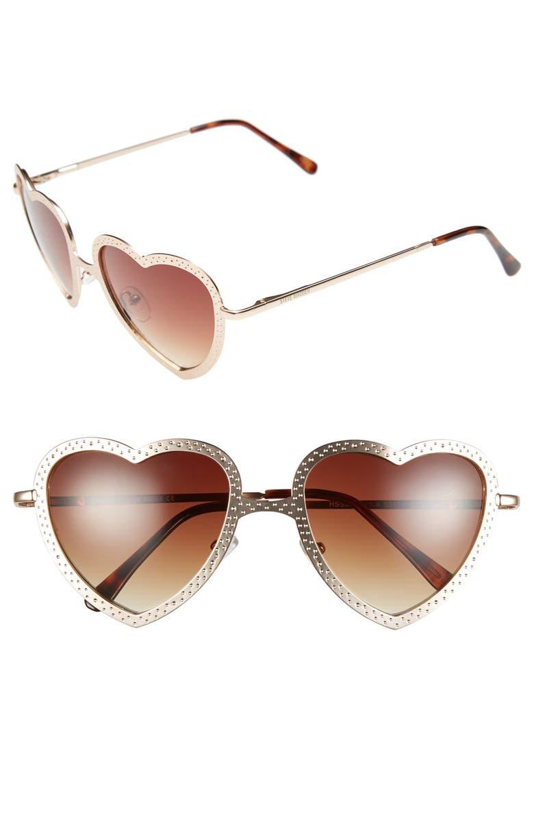STEVE MADDEN 52mm Heart Shape Sunglasses, Main, color, 710