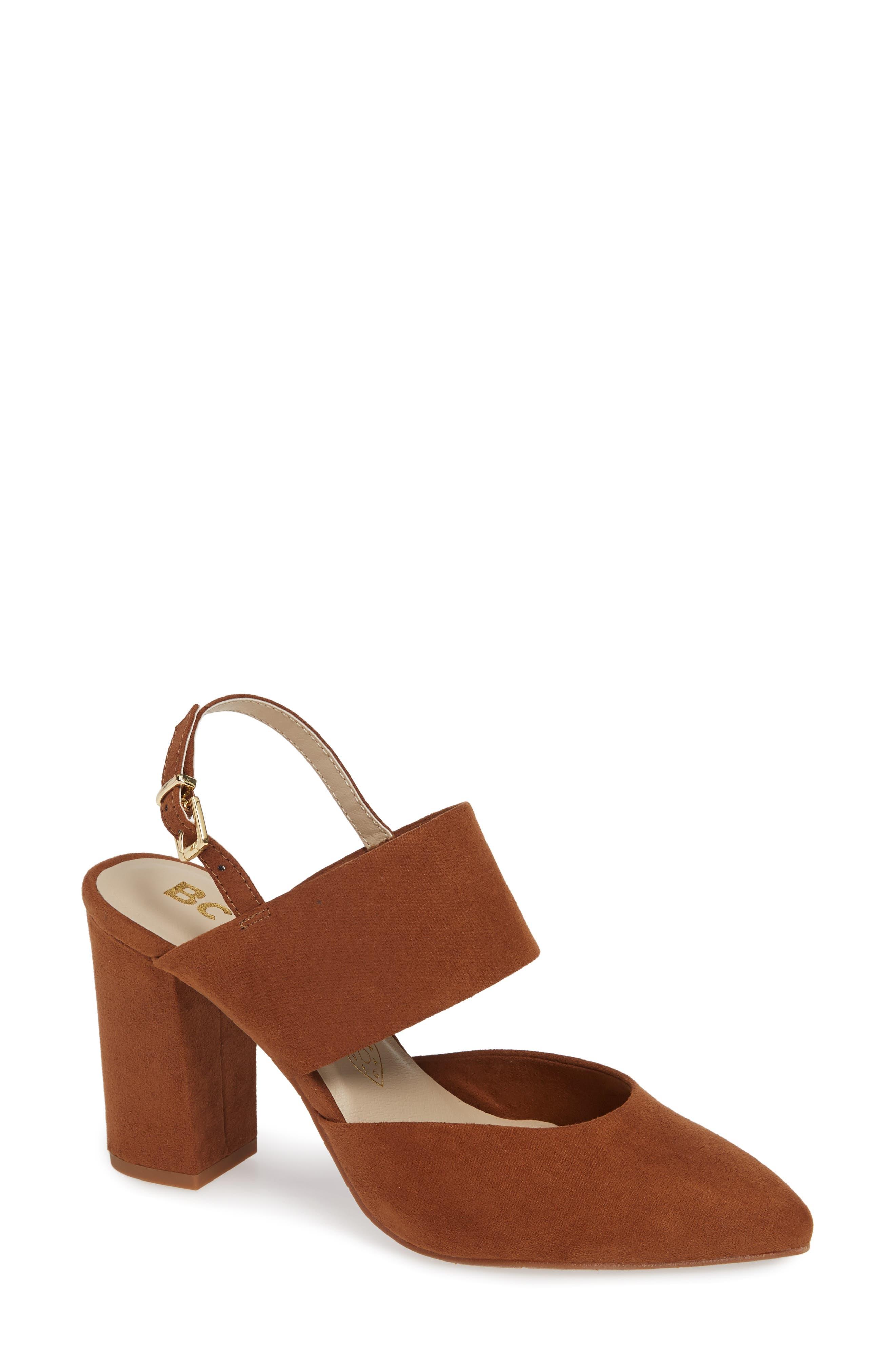 Bc Footwear Value Vegan Slingback Pump, Brown