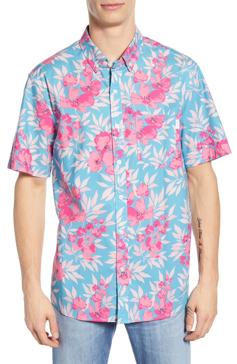 CHUBBIES The Balance of Flowers Short Sleeve Button-Down Shirt, Main, color, 440