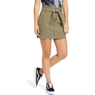 Prosperity Denim Paperbag Waist Miniskirt, Green