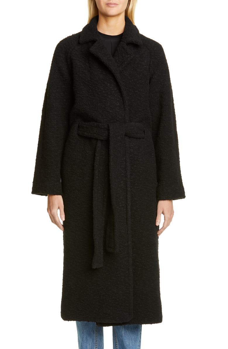 GANNI Bouclé Wrap Coat, Main, color, BLACK