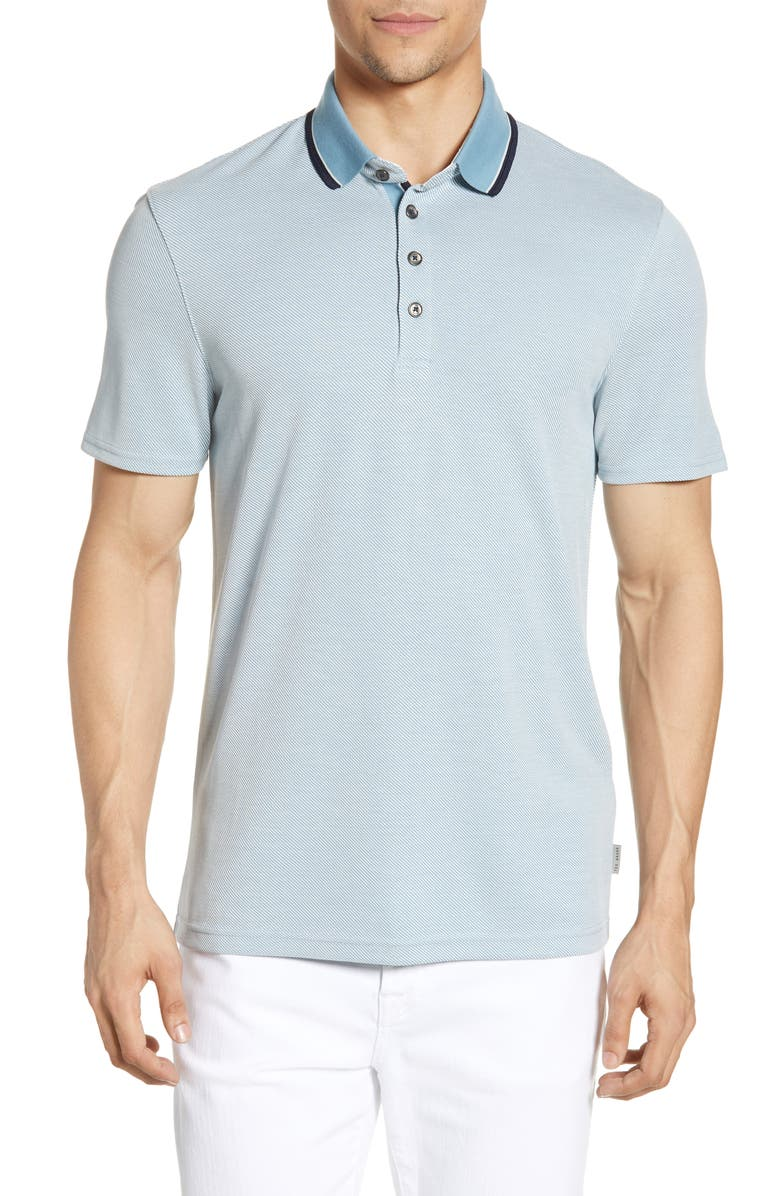 TED BAKER LONDON Slim Fit Soft Touch Tipped Polo, Main, color, MINERAL