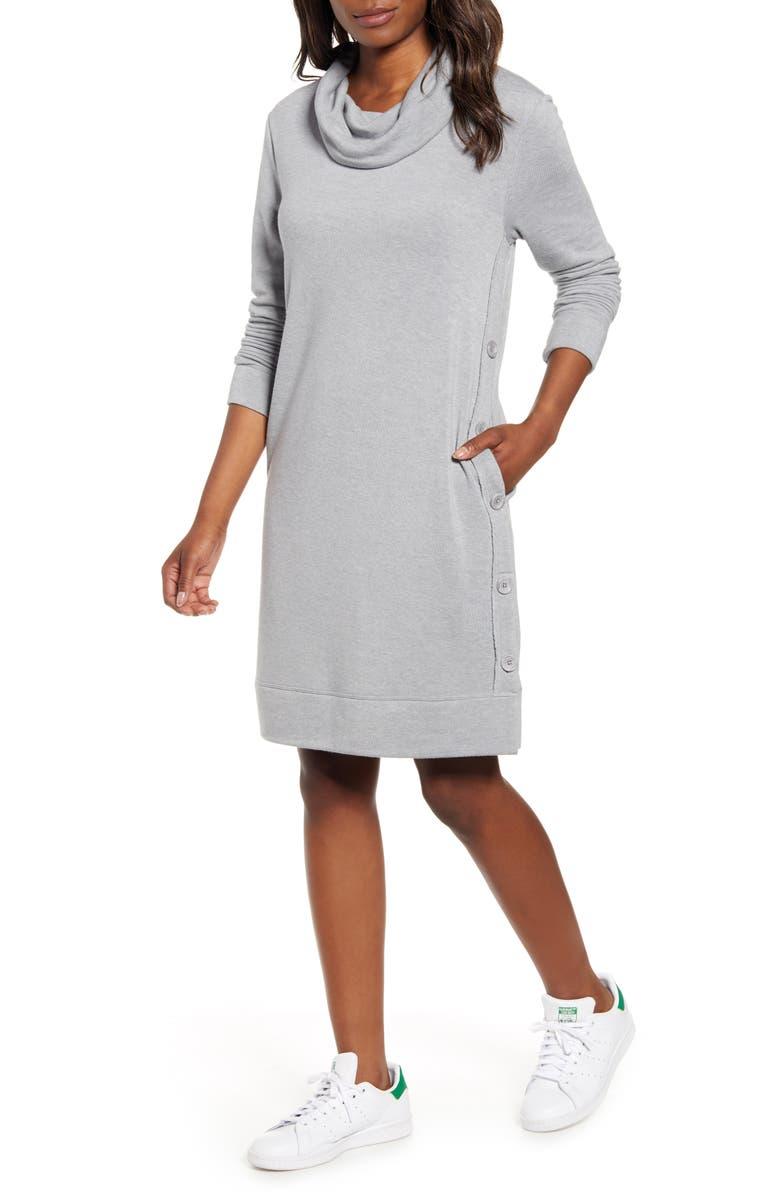 CASLON<SUP>®</SUP> Cowl Neck Side Button Long Sleeve Dress, Main, color, GREY HEATHER