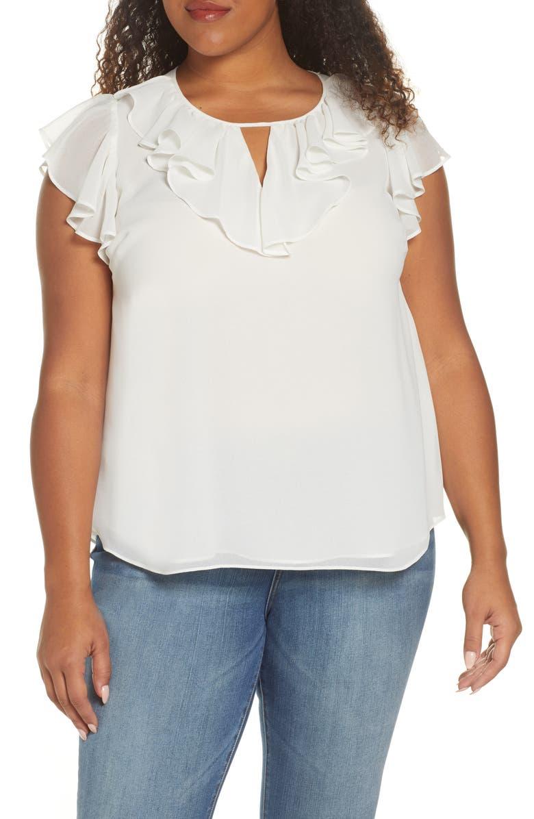 1.STATE Flutter Sleeve Blouse, Main, color, SOFT ECRU