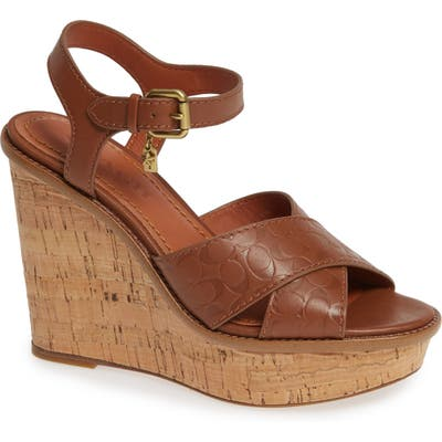 Coach Logo Embossed Wedge Sandal