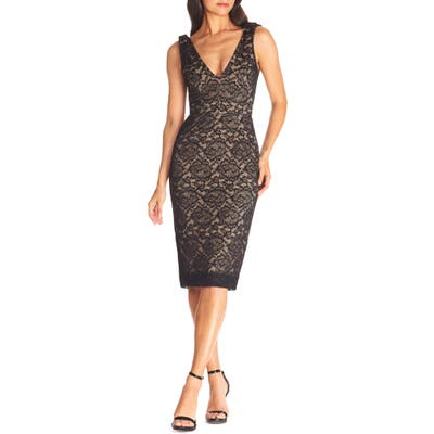 Dress The Population Mary Lace Body-Con Cocktail Dress, Black