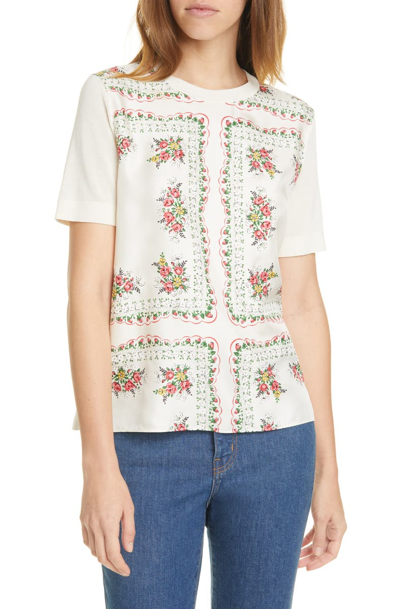TORY BURCH Print Silk Front Short Sleeve Sweater, Main, color, GARDEN VEIL