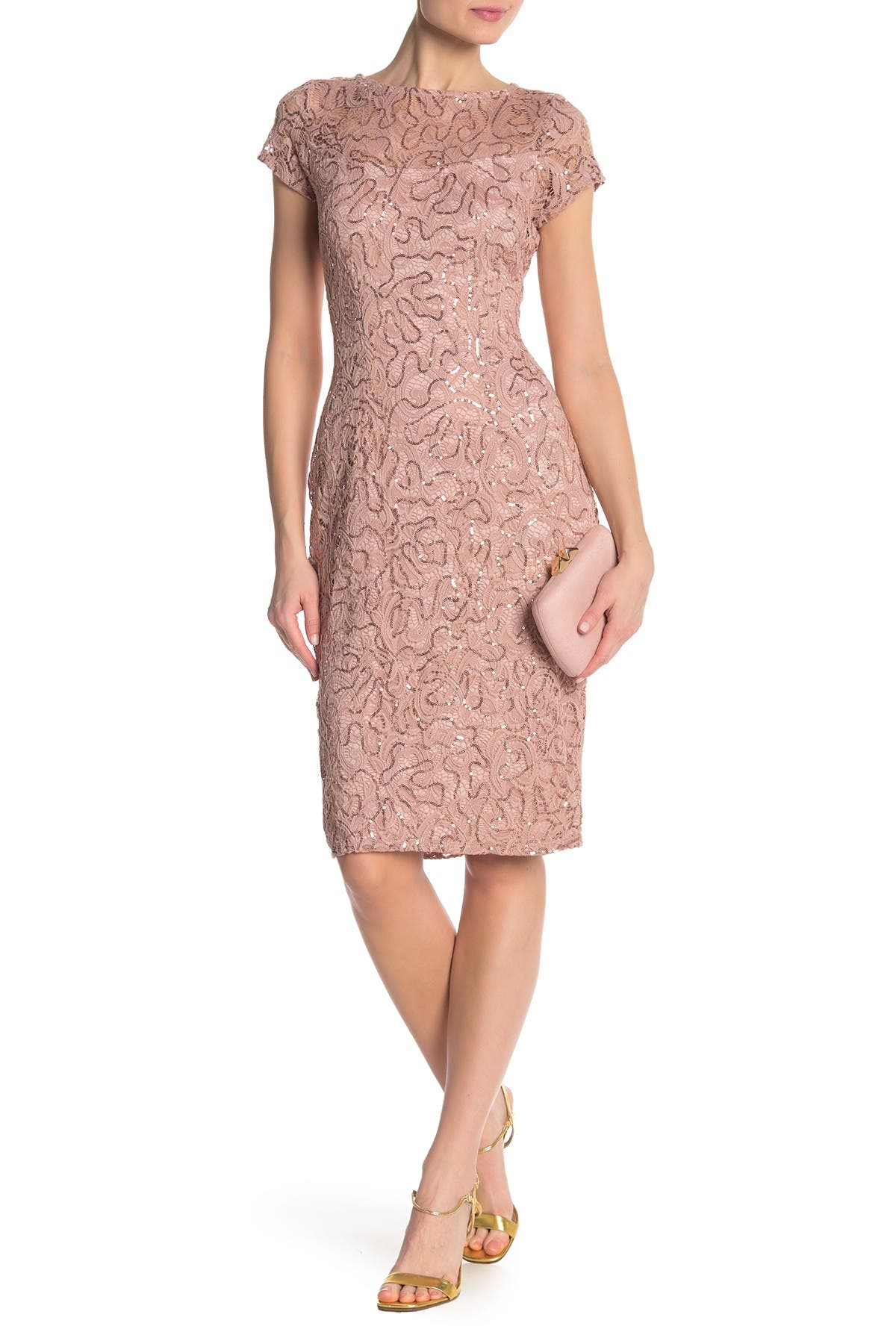 Image of Marina Sequin Lace Cap Sleeve Sheath Dress