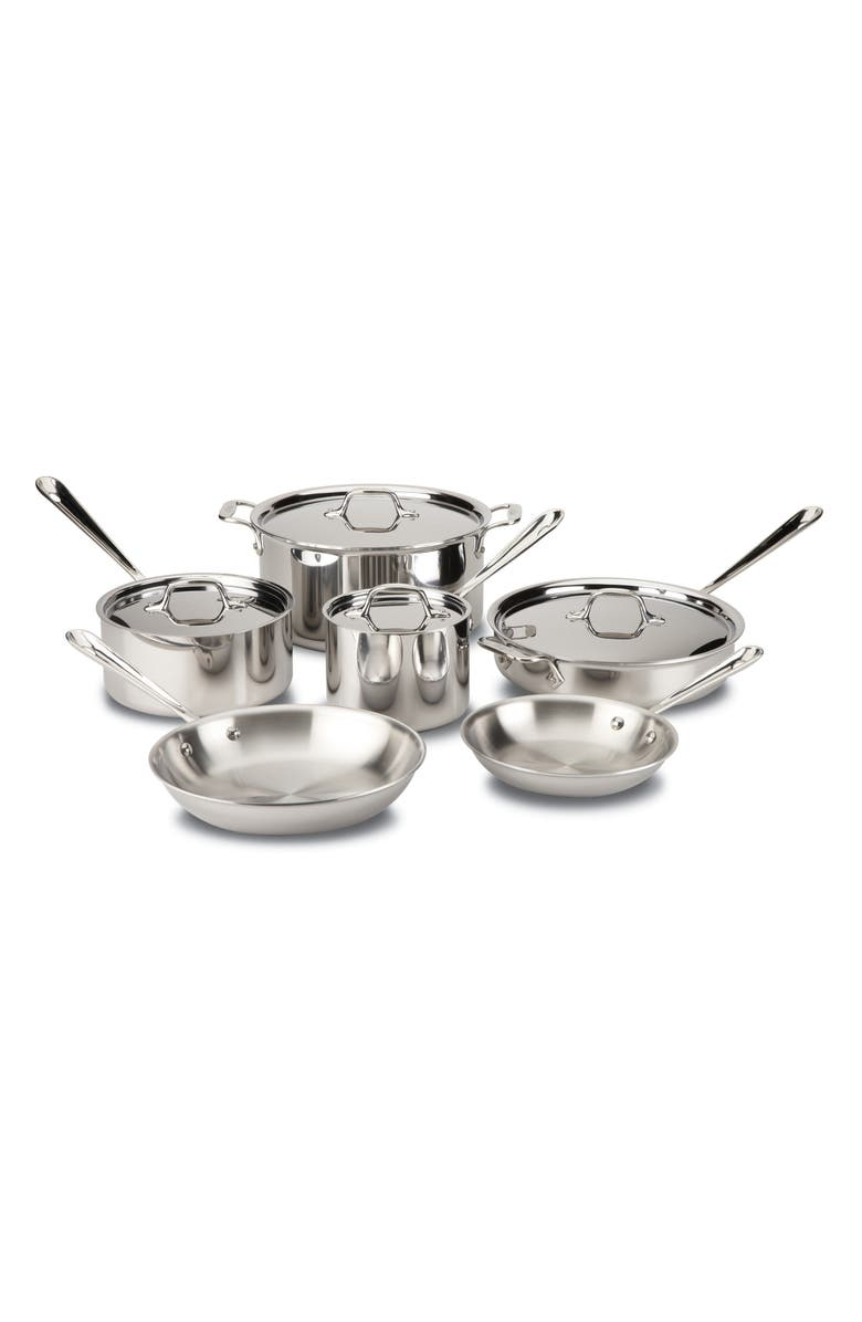 ALL-CLAD 10-Piece Stainless Steel Cookware Set, Main, color, STAINLESS