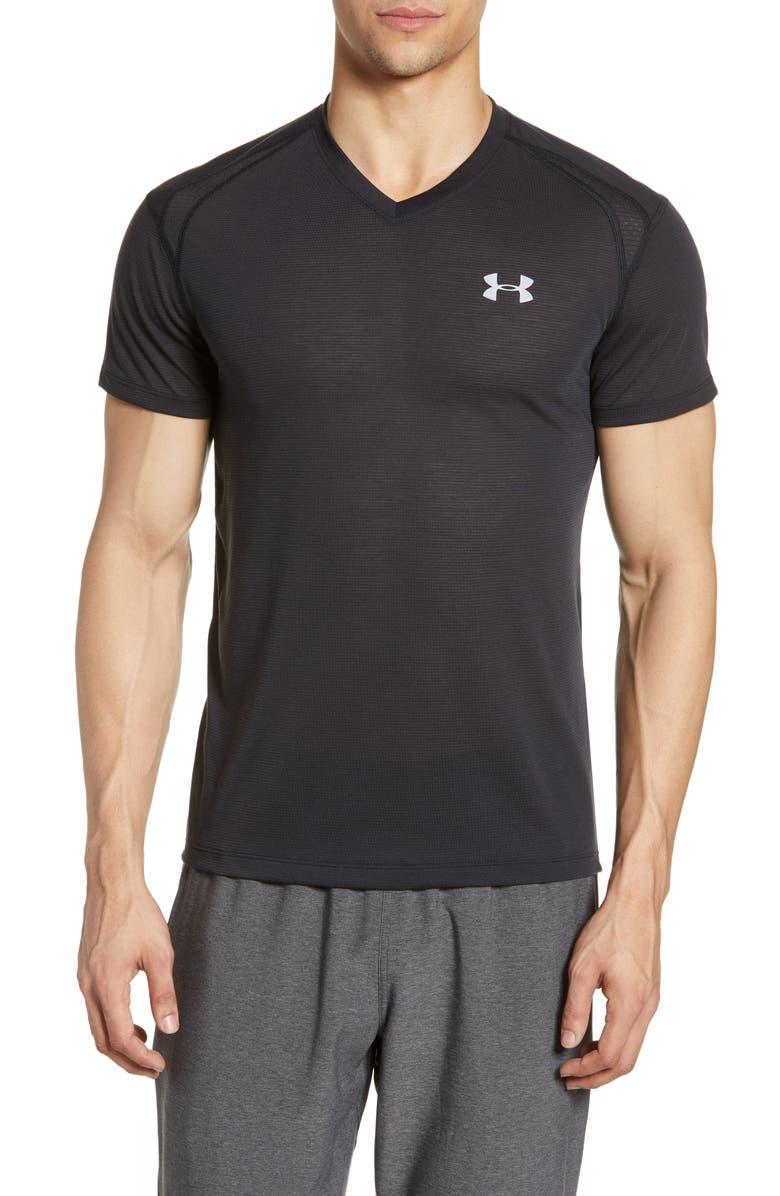 UNDER ARMOUR Siphon V-Neck Performance T-Shirt, Main, color, BLACK/ BLACK/ REFLECTIVE